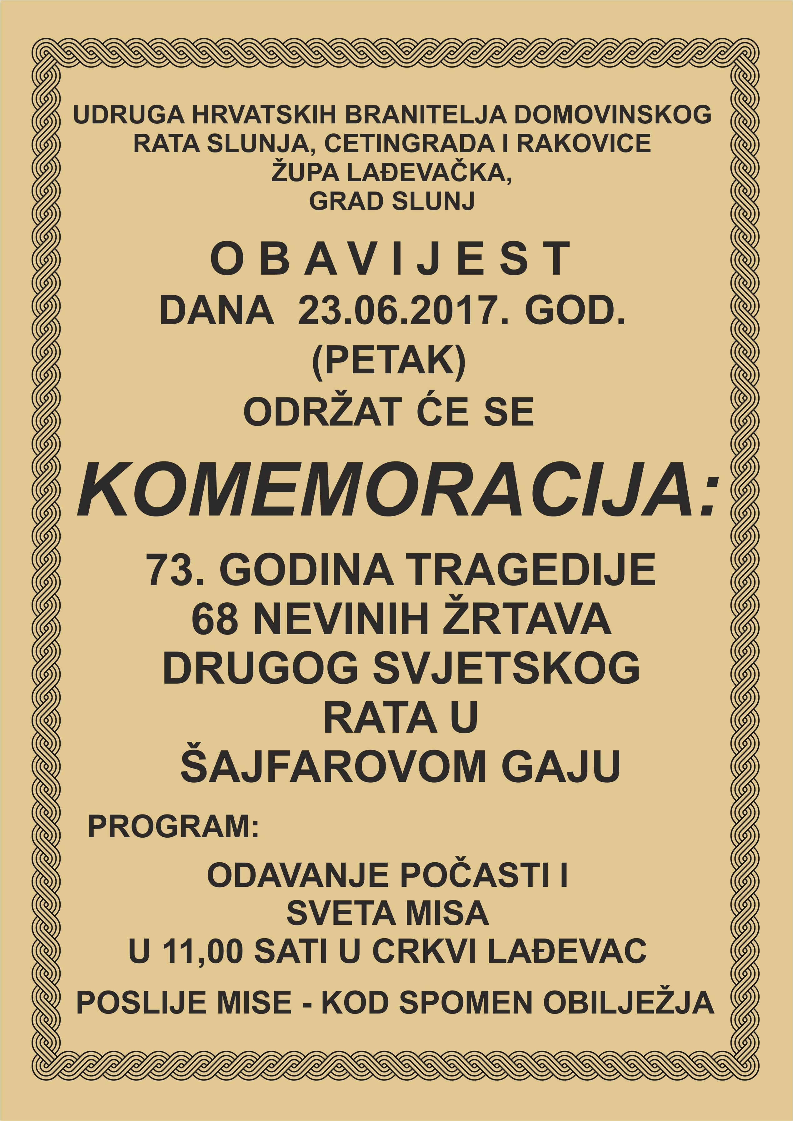 LokalnaHrvatska.hr Slunj Komemoracija zrtvama ii. svj. rata u sajfarovom Gaju
